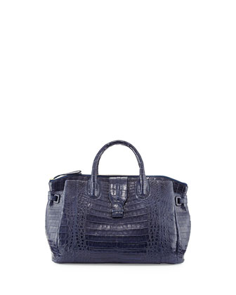Small Crocodile Tote Bag, Navy Blue (Made to Order)