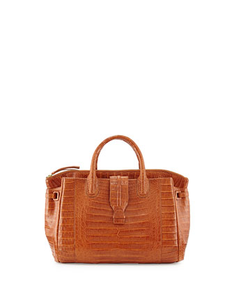 Small Crocodile Tote Bag, Cognac (Made to Order)