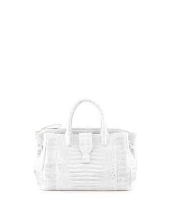 Small Crocodile Tote Bag, White