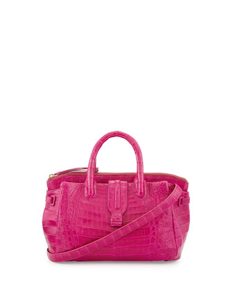 Small Crocodile Tote Bag, Pink (Made to Order)