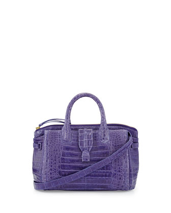 Small Crocodile Tote Bag, Purple (Made to Order)