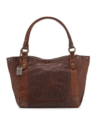Melissa Tumbled Leather Shoulder Bag, Dark Brown