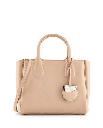 Nolita Small Leather Tote Bag, New Bisque/Sesamo