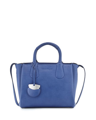 Nolita Small Leather Tote Bag, New Iris