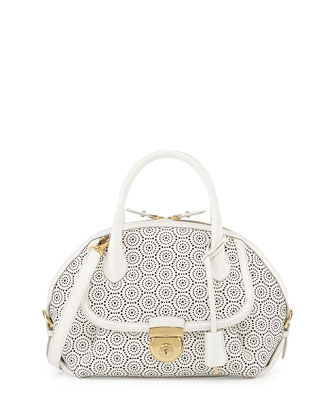Fiamma Laser-Cut Leather Dome Bag, New Bianco/Ottico