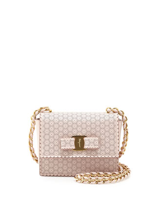 Ginny Perforated Bow Crossbody Bag, Macaron