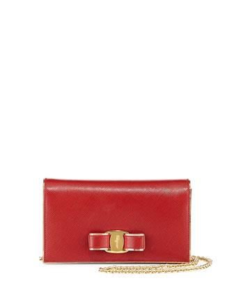 Miss Vara Bow Saffiano Crossbody Bag, Rosso