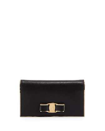 Miss Vara Bow Wallet-on-a-Chain, Nero