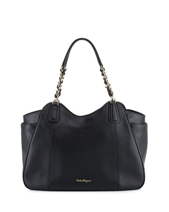Melinda Medium Chain-Strap Tote Bag, Nero