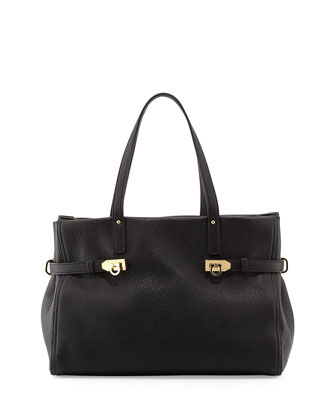 Nencia Gancini Leather Tote Bag, Nero