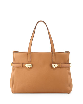 Nencia Gancini Leather Tote Bag, Sienne