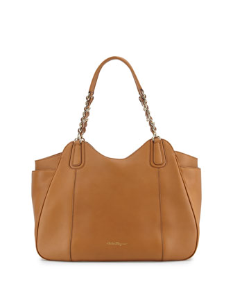 Melinda Medium Chain-Strap Tote Bag, Sienne