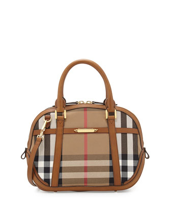 Check Canvas Satchel Bag, Brown Ochre