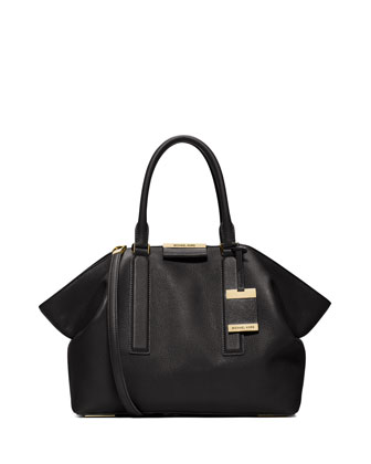Lexi Large East-West Satchel Bag, Black