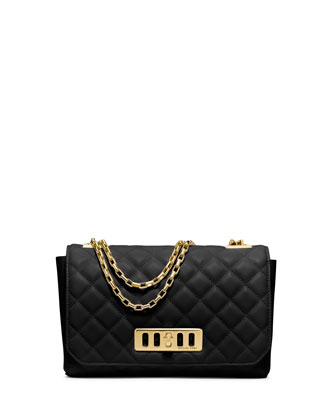 Vivian Quilted Leather Shoulder Bag, Black
