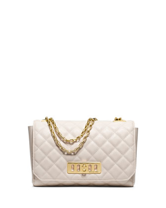 Vivian Quilted Leather Shoulder Bag, Vanilla