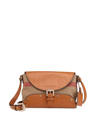 Leather & Check Canvas Crossbody Bag, Saddle Brown