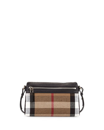 Check Canvas Crossbody Bag, Black