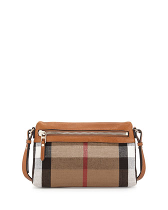 Check Canvas Crossbody Bag, Saddle Brown