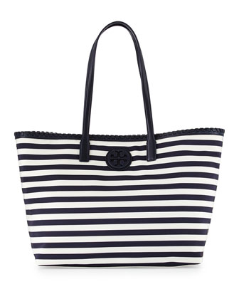 Marion Striped Nylon Tote Bag