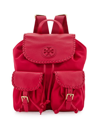 Marion Nylon Backpack, Carnation Red