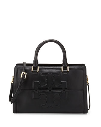 Jessica Leather Satchel Bag, Black