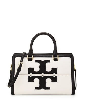 Jessica Leather Satchel Bag, Black/New Ivory