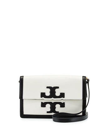 Jessica Leather Shoulder Bag, Black/New Ivory