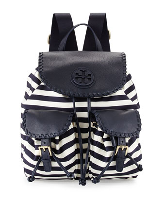 Marion Striped Nylon Backpack, Awning Stripe