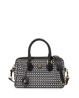 Robinson Woven Leather Satchel Bag, Black/White