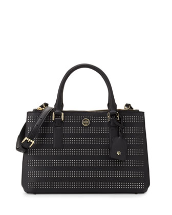 Robinson Perforated Double-Zip Tote Bag, Black/Birch