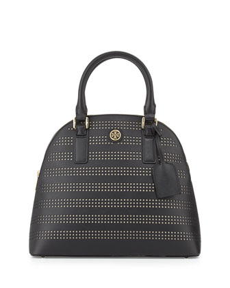Robinson Perforated Dome Satchel Bag, Black/Birch