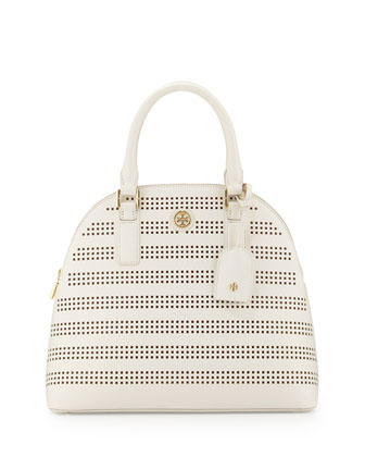 Robinson Perforated Dome Satchel Bag, Birch/Luggage