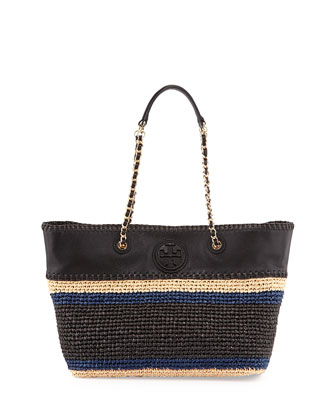 Marion Striped Straw Tote Bag, Black
