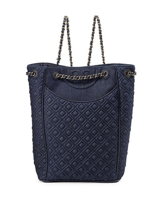 Fleming Quilted Denim Backpack, Indigo