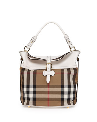 Leather & Check Canvas Shoulder Bag