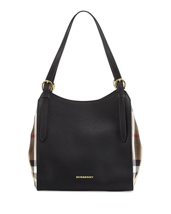 Leather Shoulder Tote Bag, Black