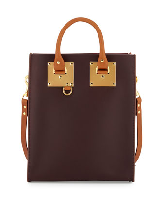 Mini Colorblock Leather Tote Bag, Oxblood/Deep Red/Tan