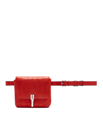 Cynnie Quilted Lambskin Belt Bag, Clementine