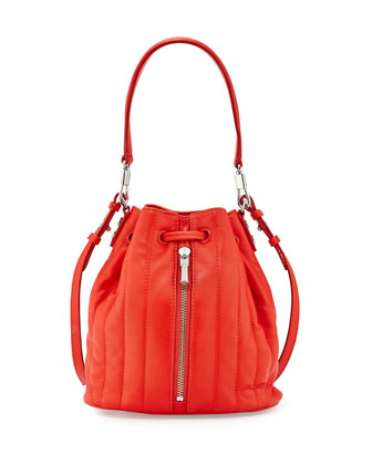 Cynnie Quilted Mini Bucket Bag, Clementine
