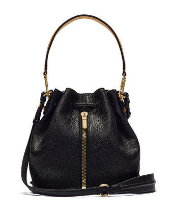 Cynnie Large Grain and Vachetta Mini Bucket Bag, Black