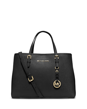 Jet Set Saffiano Medium East-West Travel Tote Bag, Black