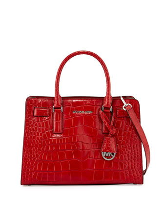 Dillon Croc-Embossed Satchel Bag, Red