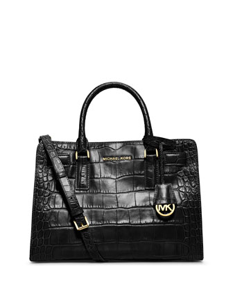Dillon Croc-Embossed Satchel Bag, Black