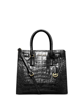 Dillon Croc-Embossed Tote Bag, Black