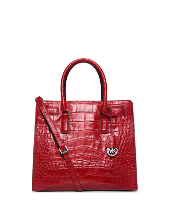 Dillon Large Croc-Embossed Tote Bag, Red