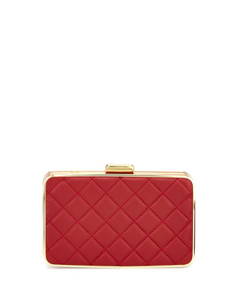 Elsie Quilted Box Clutch, Dark Red