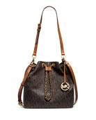 Frankie Large Convertible Drawstring Shoulder Bag, Brown