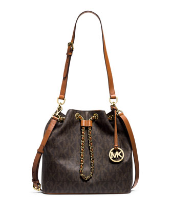 Frankie Large Convertible Drawstring Shoulder Bag, Brown