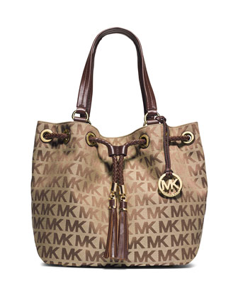 Jet Set Logo Jacquard Gathered Tote Bag, Beige/Ebony/Mocha